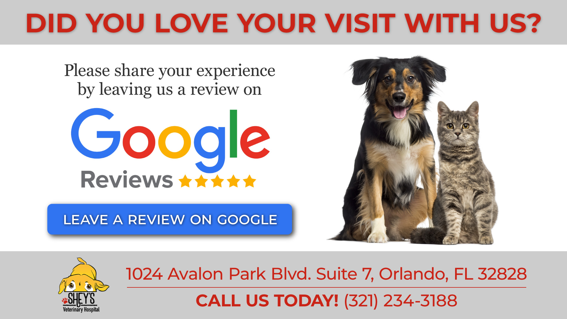Leave Us A Review in Orlando, FL | Shey's Veterinary Hospital